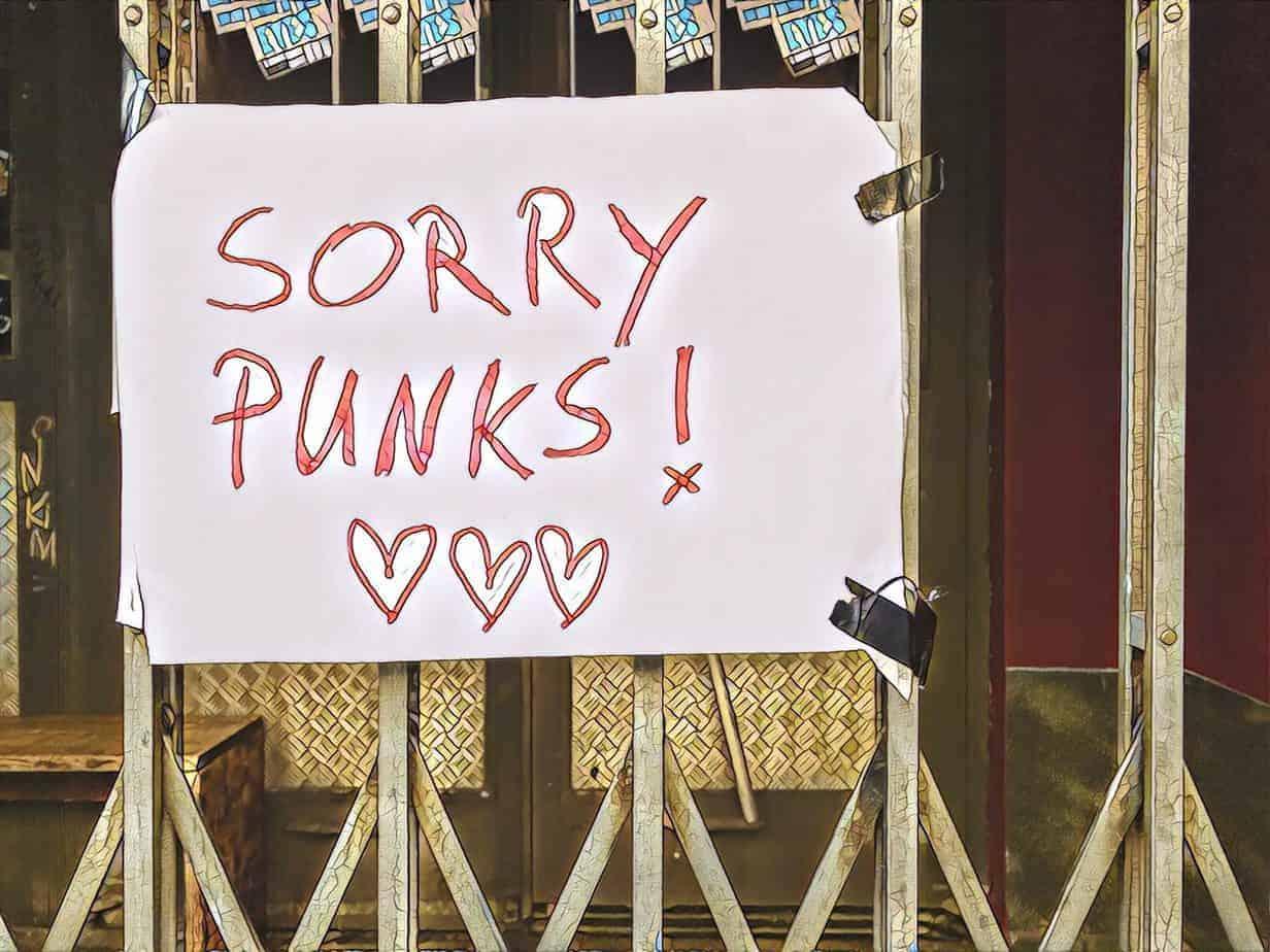 SO36 Aushang: SORRY PUNKS!